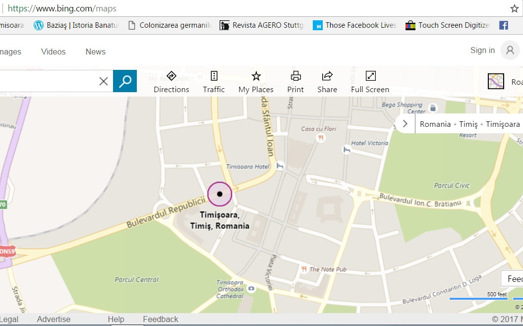 Timisoara kilometrul zero Bin maps