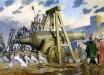 Pictura romantica reprezentand tunul lui Urban in fata zidurilor Constantinopolelui